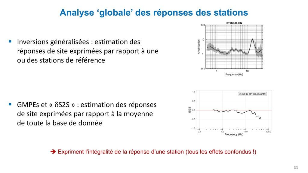 23 Analyse 'globale' des réponses des stations ...