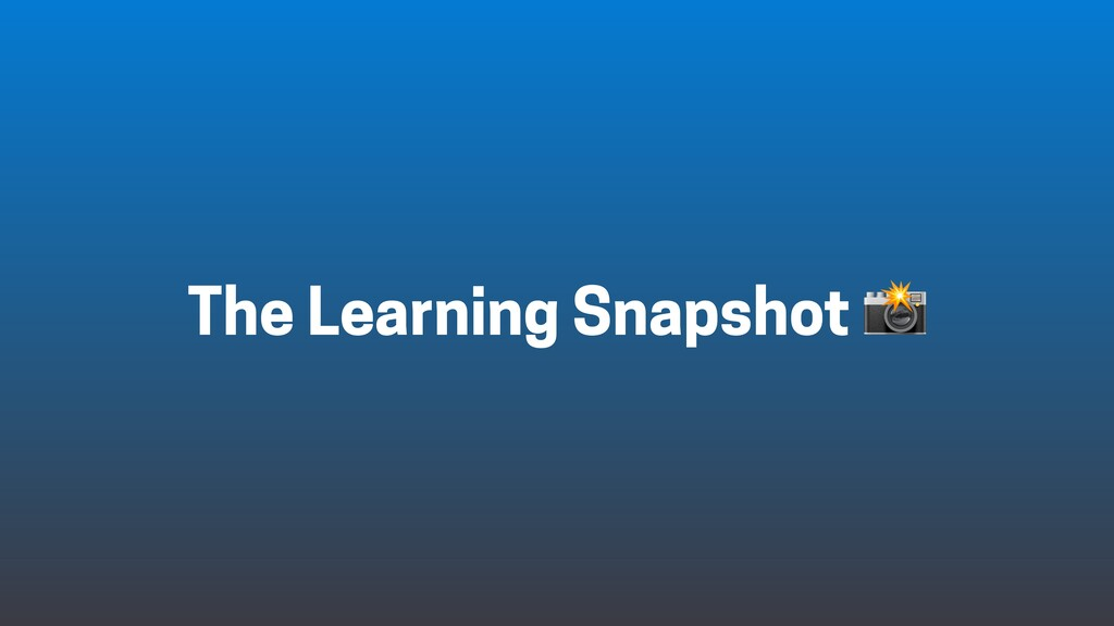 The Learning Snapshot