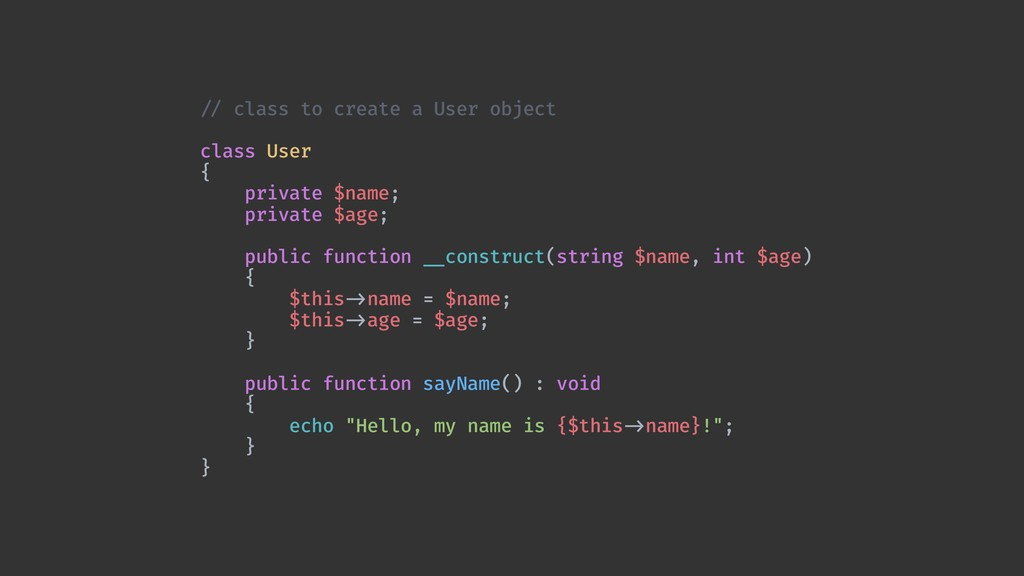 !// class to create a User object