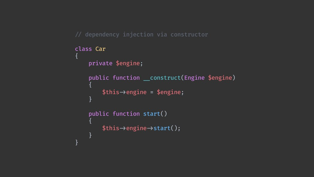 !// dependency injection via constructor