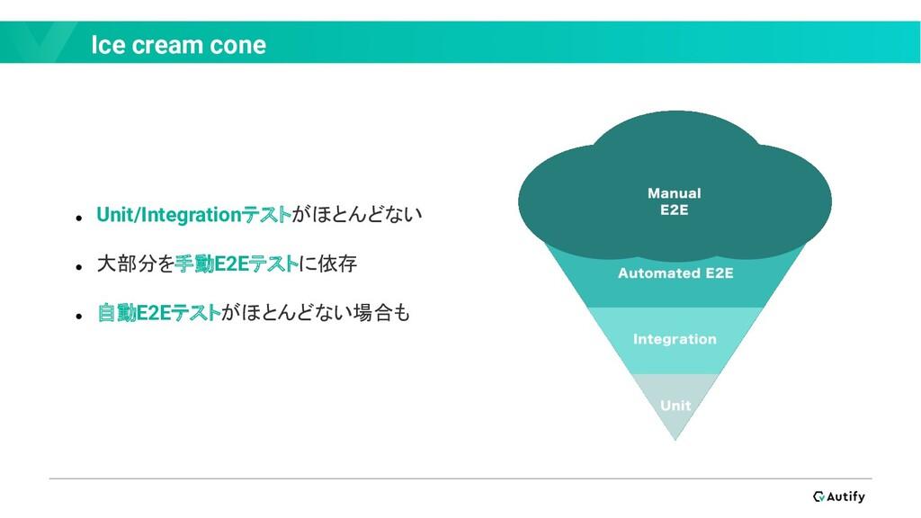 Ice cream cone ● Unit/Integrationテストがほとんどない ● 大...