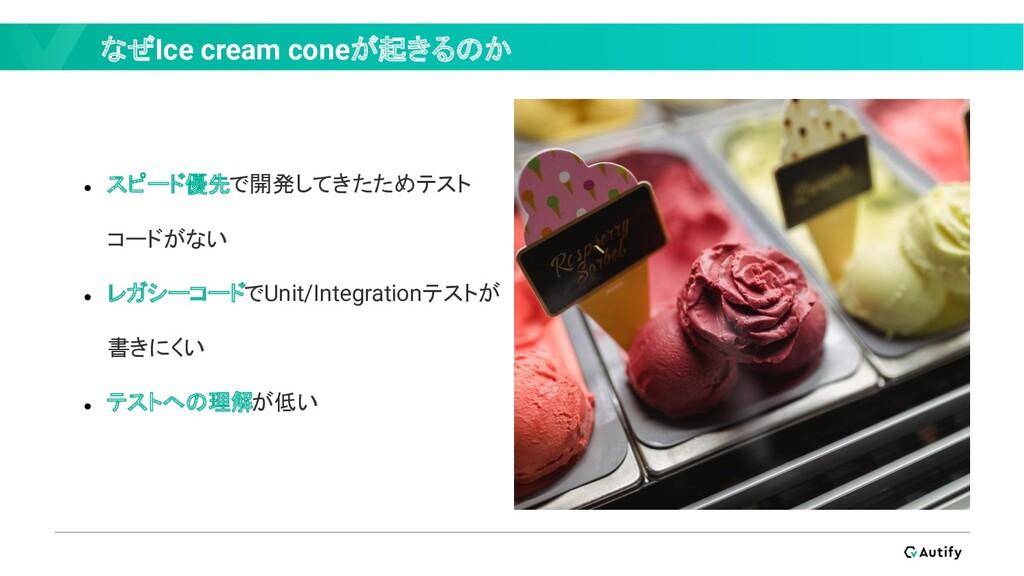なぜIce cream coneが起きるのか ● スピード優先で開発してきたためテスト コード...