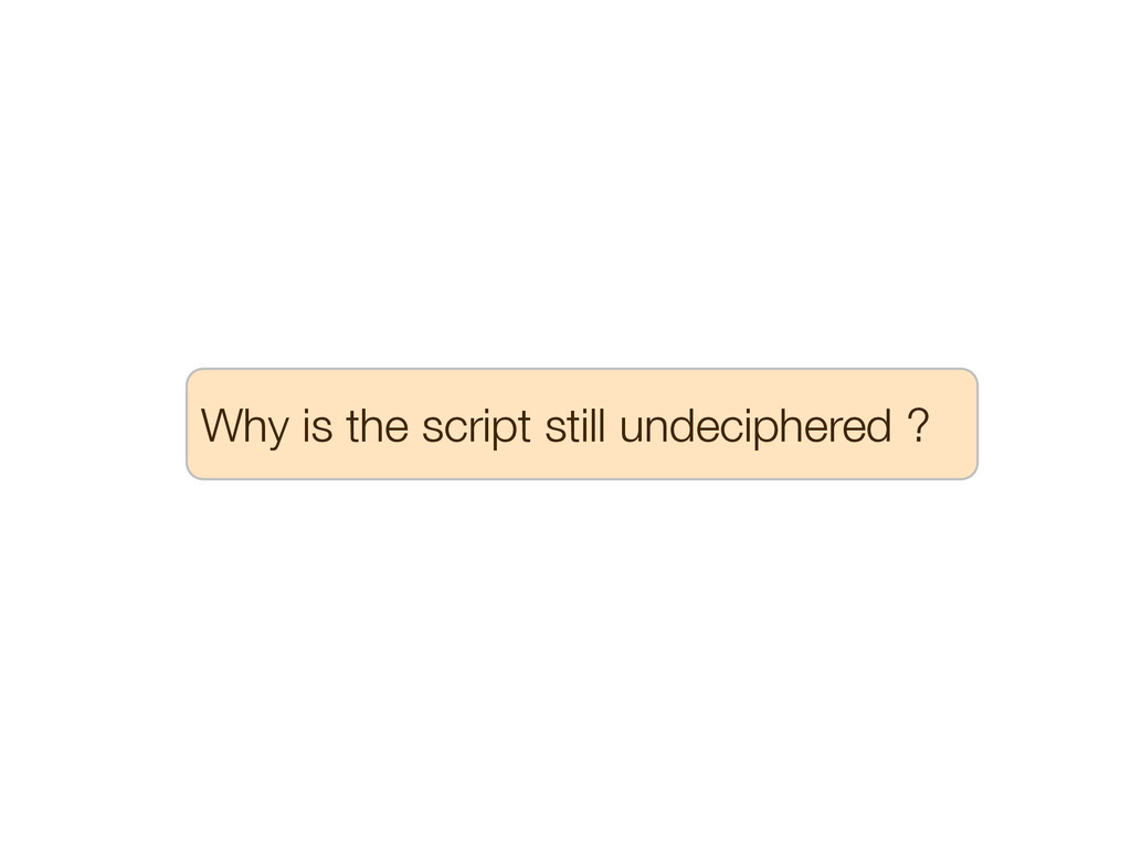 Why is the script still undeciphered ?