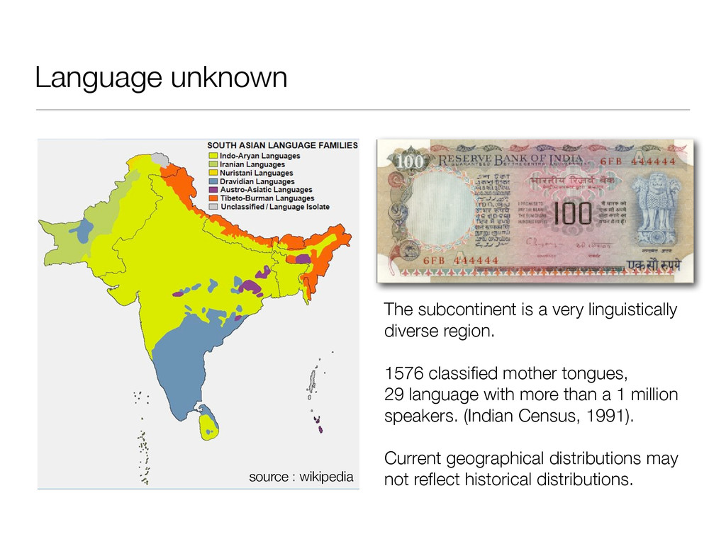 Language unknown The subcontinent is a very lin...