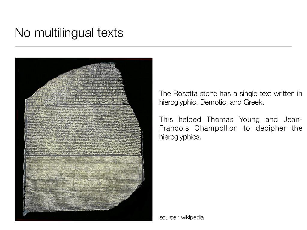 No multilingual texts The Rosetta stone has a s...