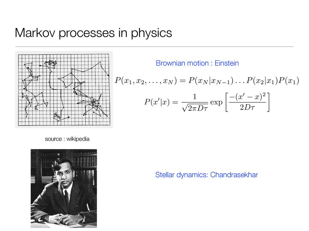 Markov processes in physics P(x1, x2, . . . , x...