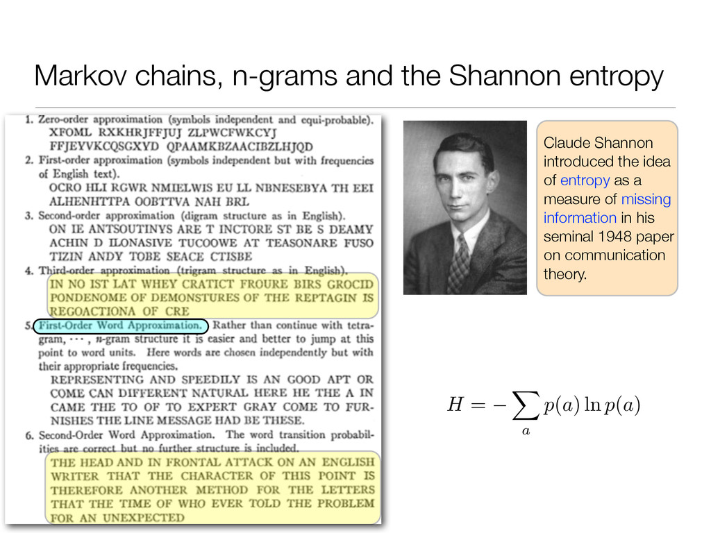 Markov chains, n-grams and the Shannon entropy ...
