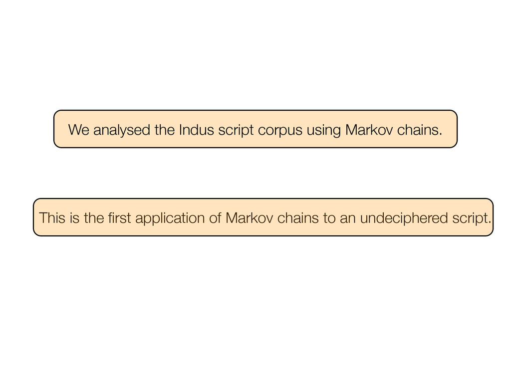 We analysed the Indus script corpus using Marko...