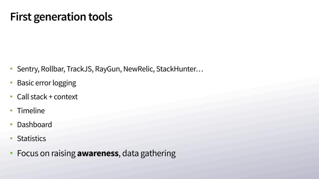 First generation tools • Sentry, Rollbar, Track...