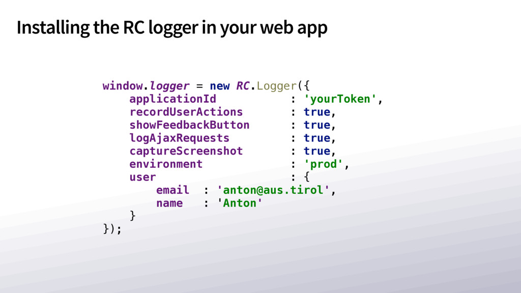 Installing the RC logger in your web app window...