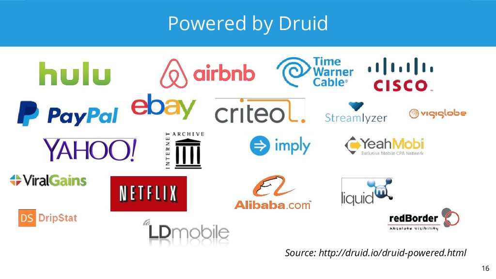 Powered by Druid 16 Source: http://druid.io/dru...