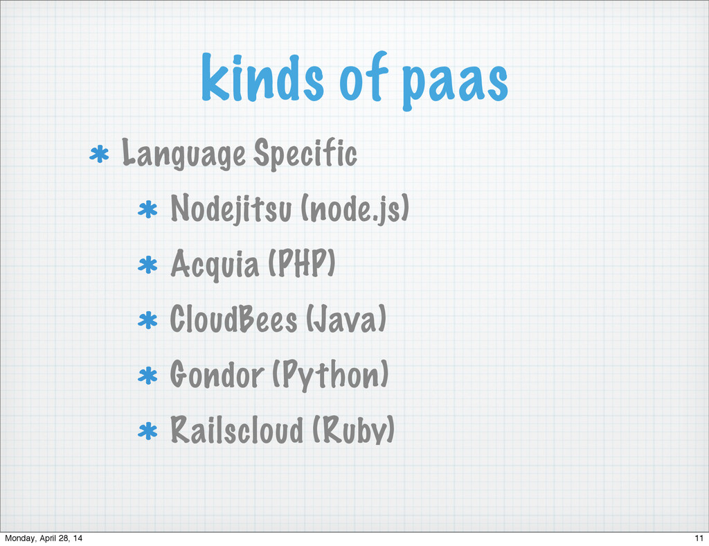 kinds of paas Language Specific Nodejitsu (node...