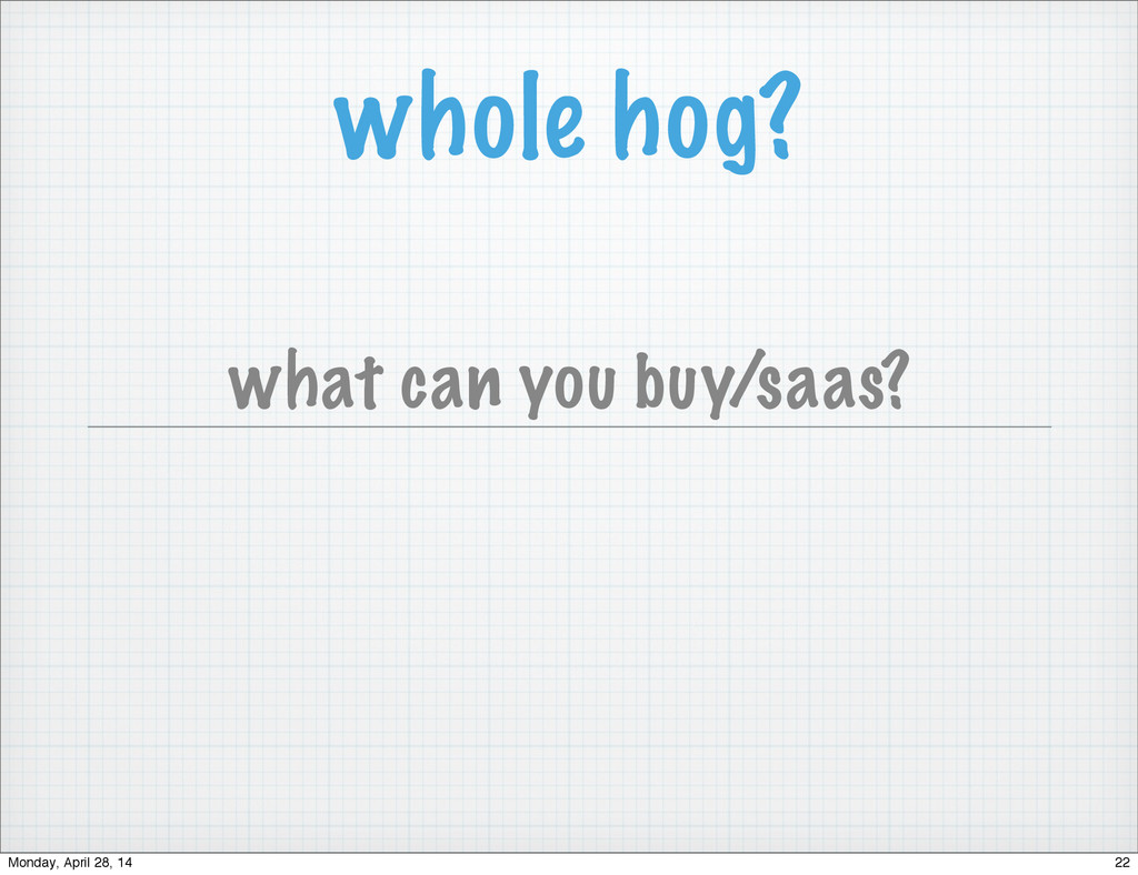 whole hog? what can you buy/saas? 22 Monday, Ap...