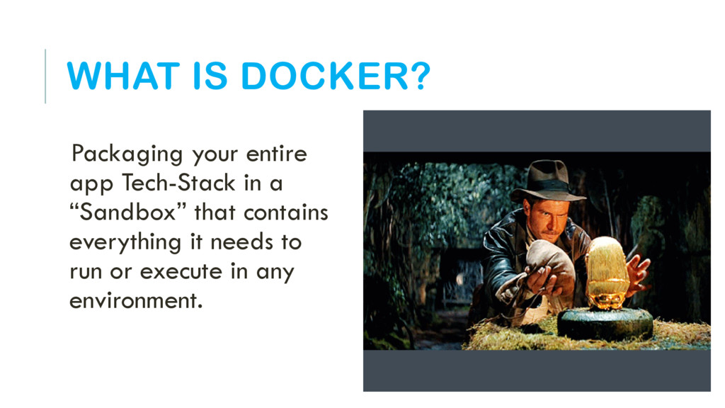 WHAT IS DOCKER? Packaging your entire app Tech-...