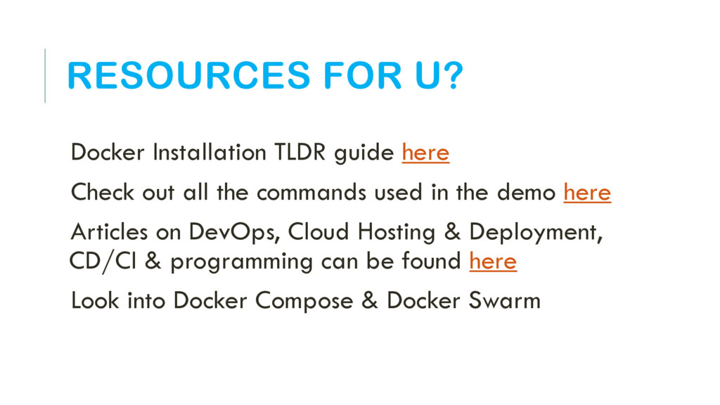 RESOURCES FOR U? Docker Installation TLDR guide...