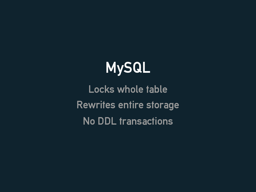 MySQL Locks whole table Rewrites entire storage...