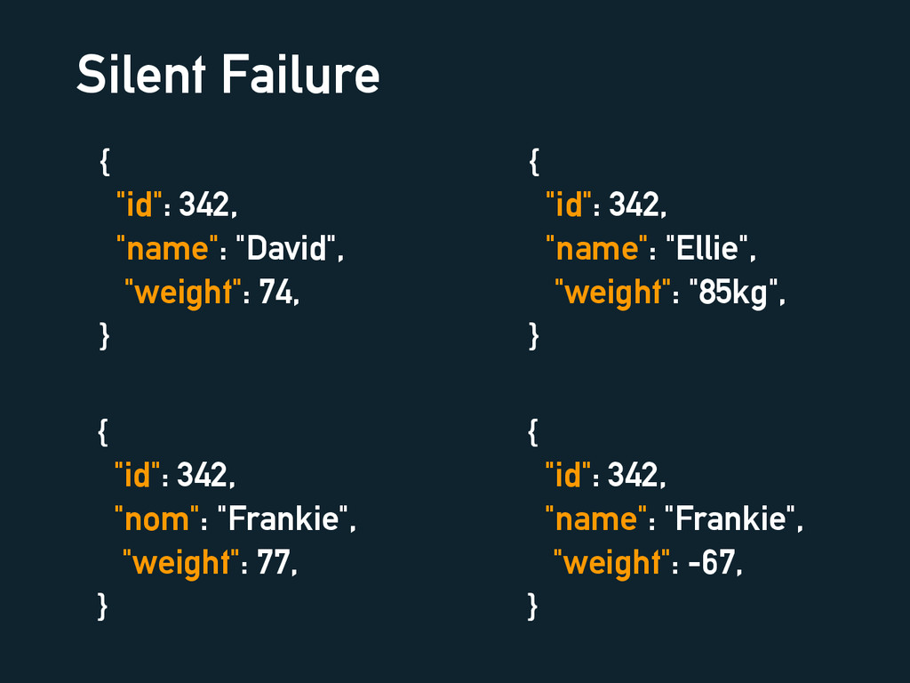 "Silent Failure { ""id"": 342, ""name"": ""David"", ""w..."