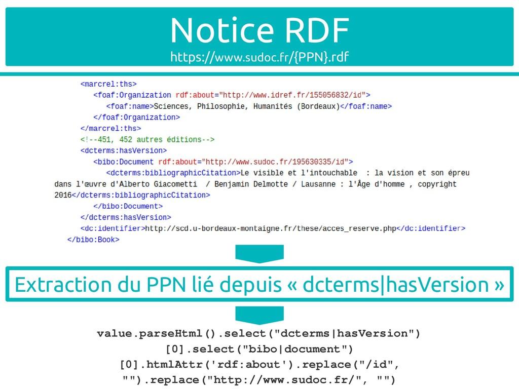 Notice RDF https://www.sudoc.fr/{PPN}.rdf value...