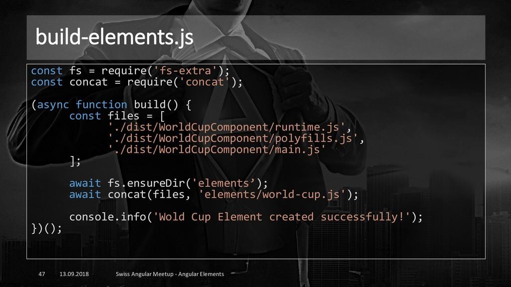build-elements.js 13.09.2018 Swiss Angular Meet...
