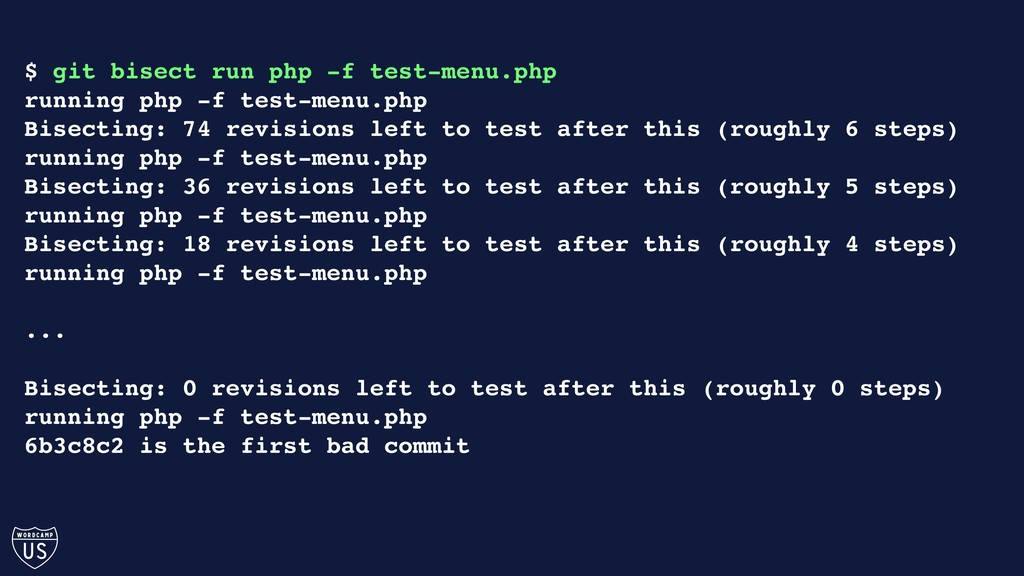 $ git bisect run php -f test-menu.php running p...