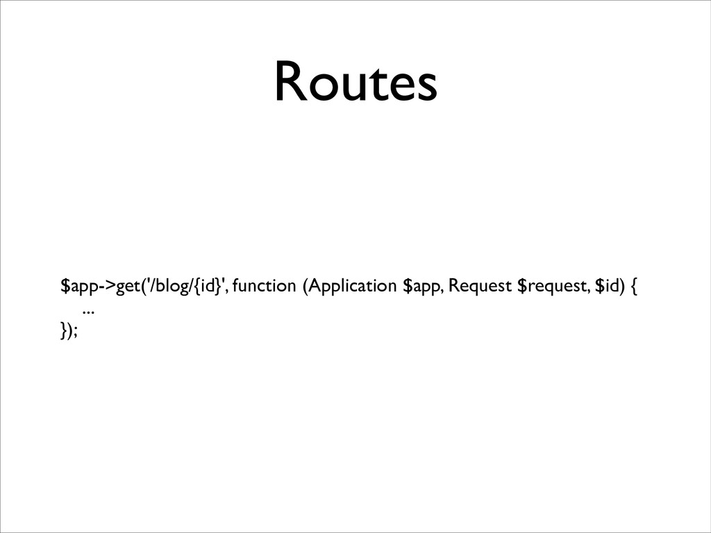 Routes $app->get('/blog/{id}', function (Applic...