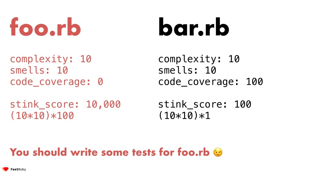 foo.rb complexity: 10 smells: 10 code_coverage:...