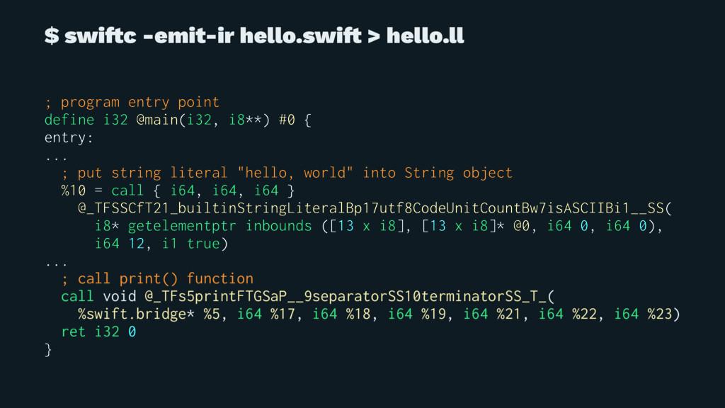 $ swi!c -emit-ir hello.swi! > hello.ll ; progra...