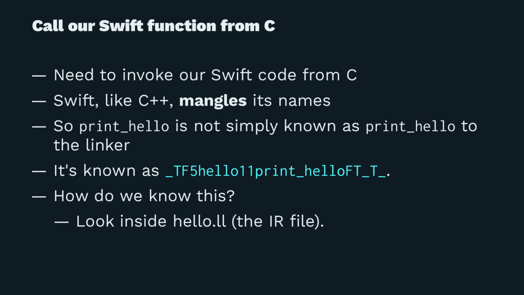 Call our Swi! function from C — Need to invoke ...