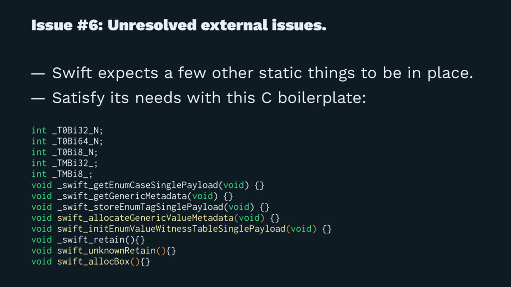Issue #6: Unresolved external issues. — Swift e...