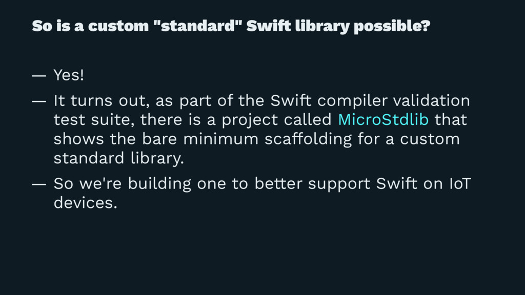 "So is a custom ""standard"" Swi! library possible..."