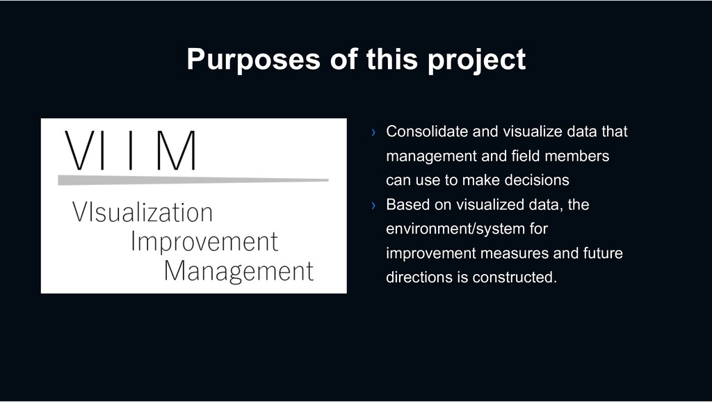 Purposes of this project › Consolidate and visu...