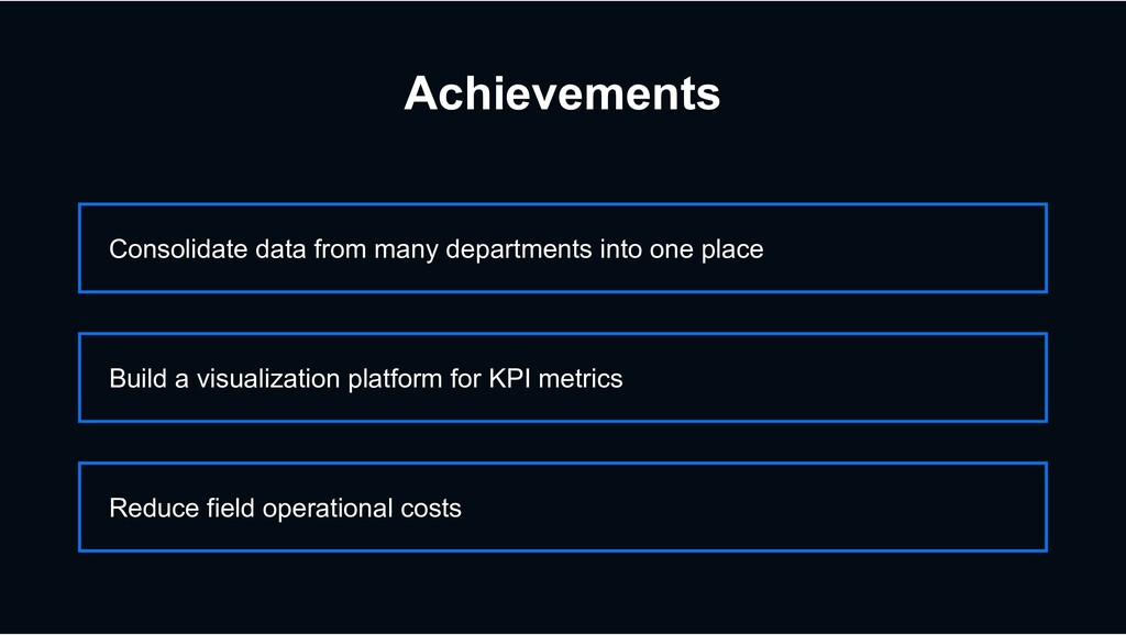 Achievements Consolidate data from many departm...
