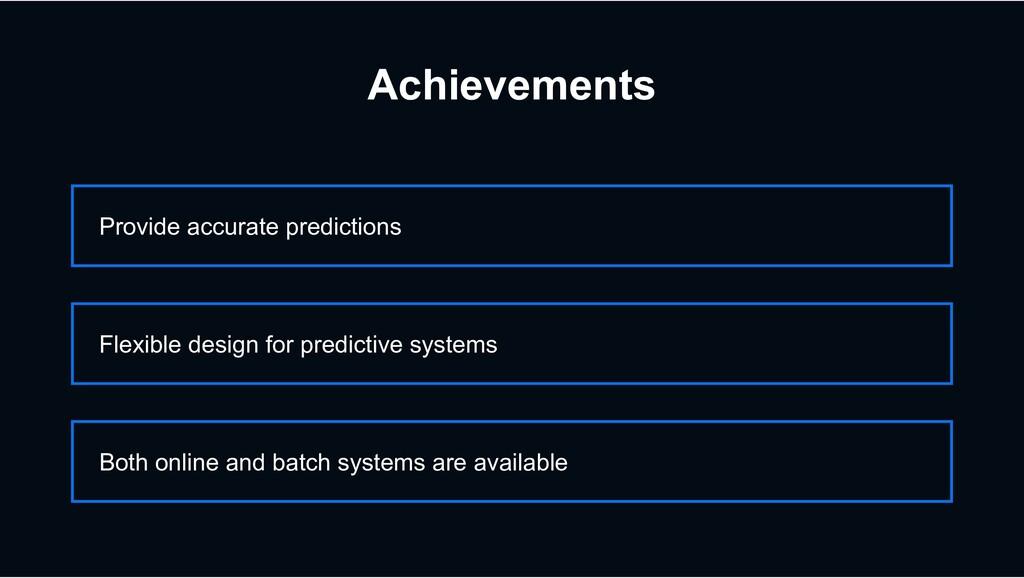 Achievements Provide accurate predictions Flexi...