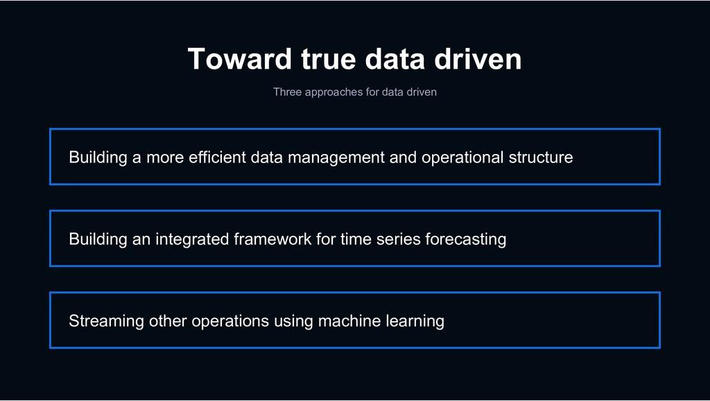 Toward true data driven Three approaches for da...