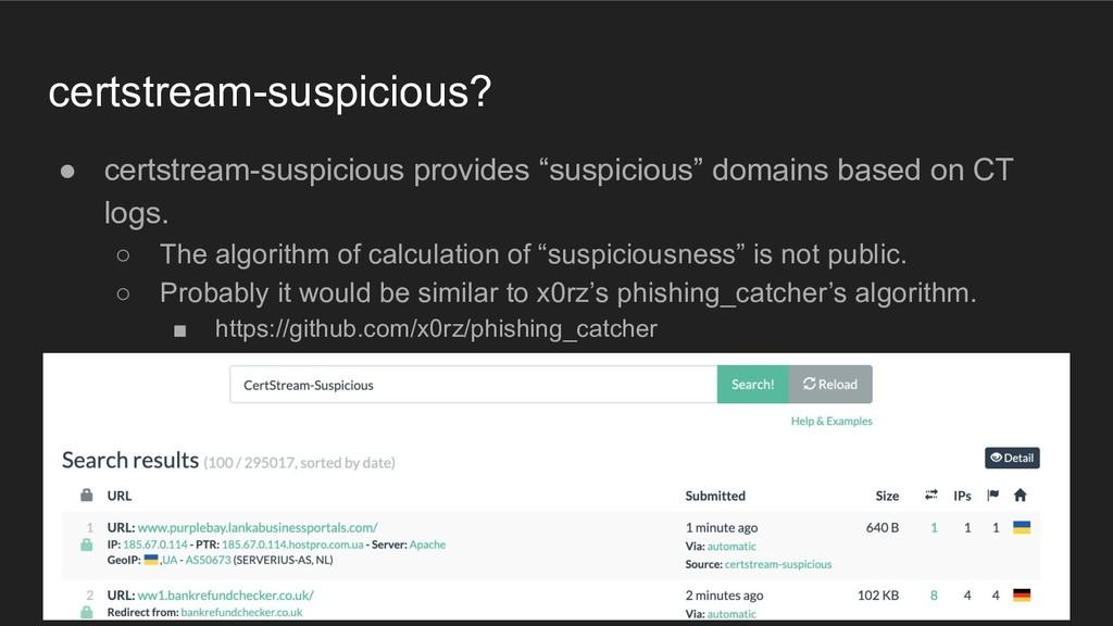 certstream-suspicious? ● certstream-suspicious ...