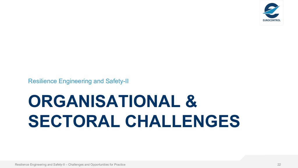 ORGANISATIONAL & SECTORAL CHALLENGES Resilience...
