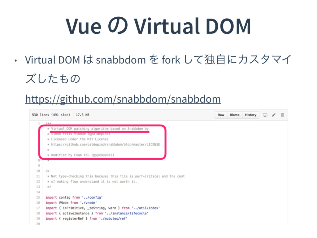 Vue ͷ Virtual DOM • Virtual DOM  snabbdom Λ fo...