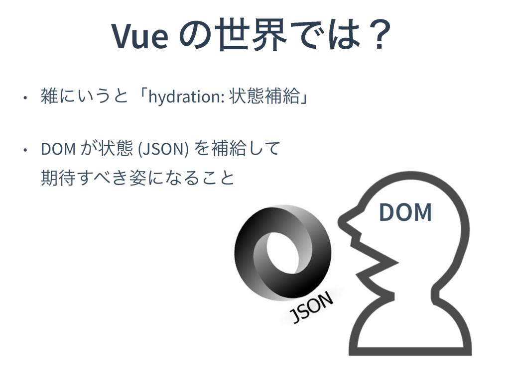 Vue ͷੈքͰʁ • ʹ͍͏ͱʮhydration: ঢ়ଶิڅʯ • DOM ͕ঢ়ଶ (...