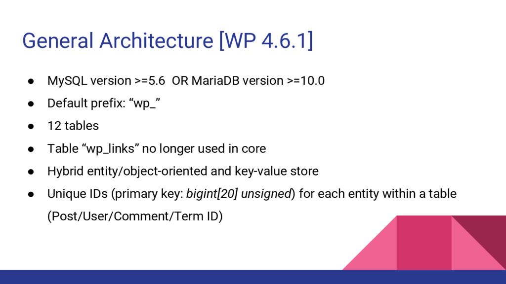 General Architecture [WP 4.6.1] ● MySQL version...
