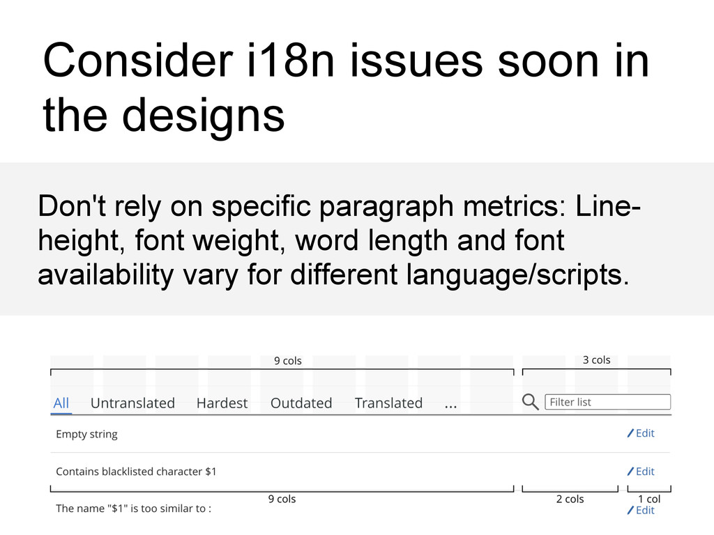 Consider i18n issues soon in the designs Don't ...