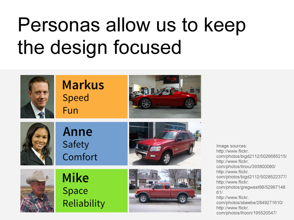 Personas allow us to keep the design focused Im...