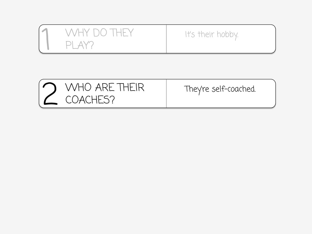2 They're self-coached. WHO ARE THEIR COACHES? ...