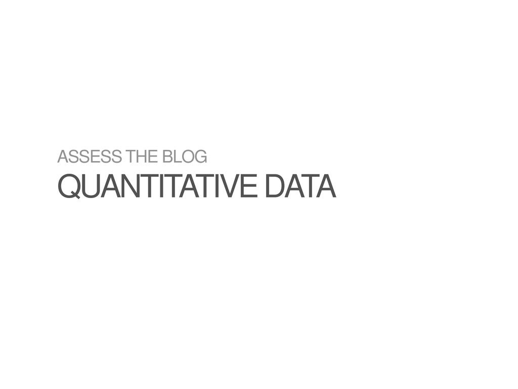 ASSESS THE BLOG QUANTITATIVE DATA