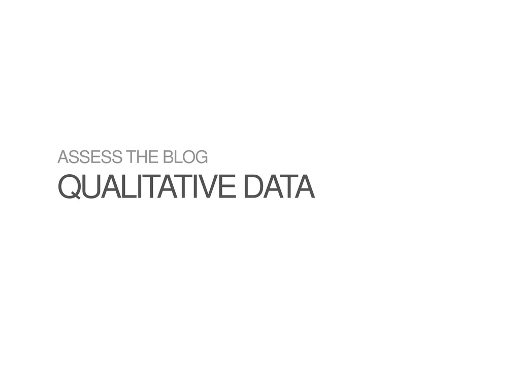 ASSESS THE BLOG QUALITATIVE DATA