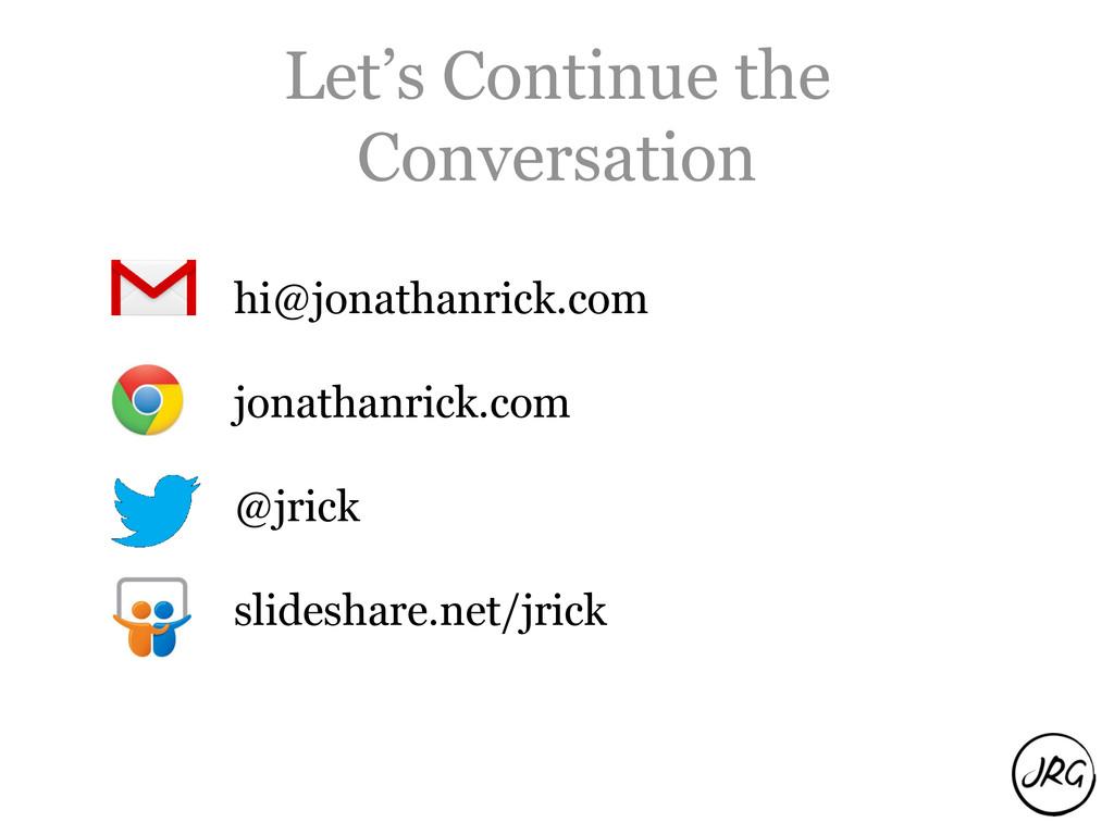Let's Continue the Conversation hi@jonathanrick...