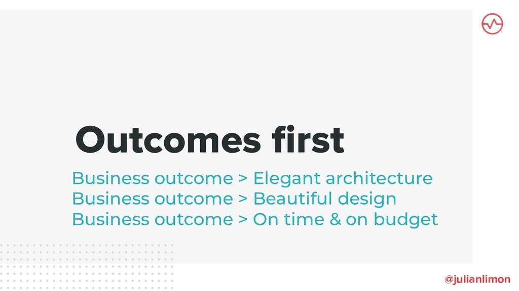 Outcomes first @julianlimon Business outcome > E...