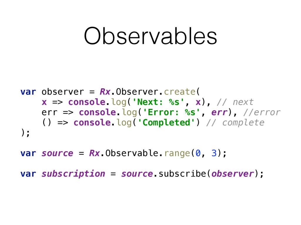 Observables var observer = Rx.Observer.create(...