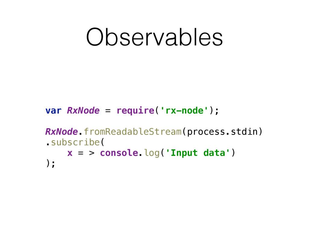 Observables var RxNode = require('rx-node'); ...