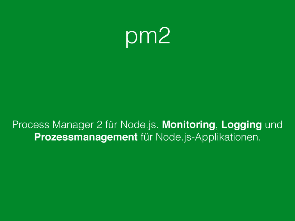 pm2 Process Manager 2 für Node.js. Monitoring, ...