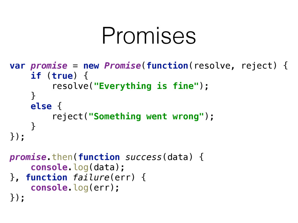 Promises var promise = new Promise(function(res...